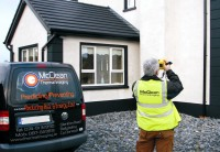 McClean Thermal Imaging van and Donagh McClean conducting a thermal imaging survey of a house to check for missing cavity wall insulation. Thermal Imaging Surveys, Donegal, Ireland